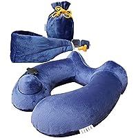 トラベル枕インフレータブル) ( without blowing – 高さ調整可能な、圧縮可能、コンパクト、快適、人間工学のサポートヘッド、Neck & Chin , with aポーチスリープ、マスク、耳プラグ U ブルー