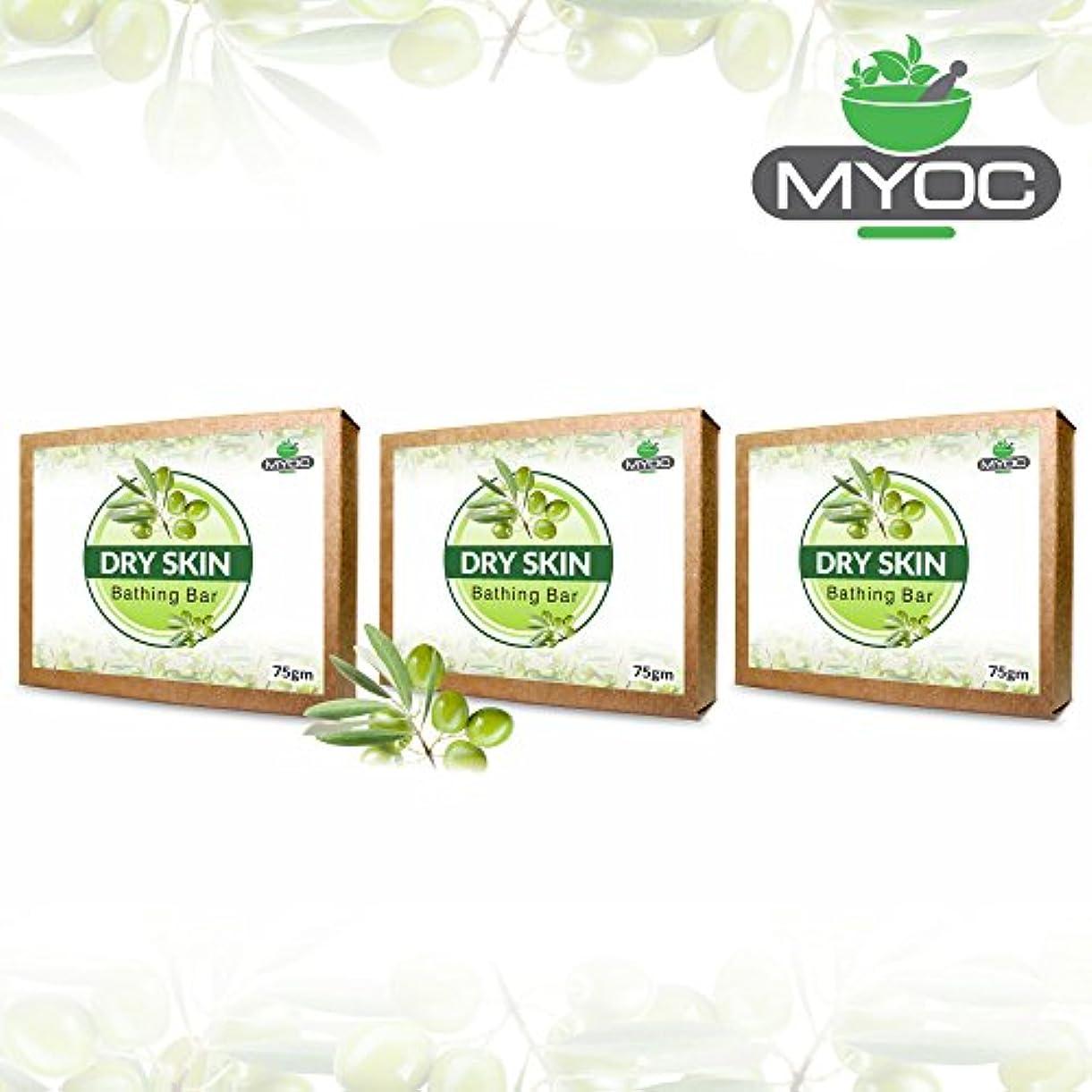 繊細滞在不良品Olive oil and glycerine soap for dry skin 75gm x 3 Pack