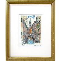 送料無料 藤森悠二『ベニスの運河(イタリア)』ミクストメディア 風景画 版画 ヴェニス ベネチア ヴェネツィア ベネツィア ゴンドラ 水辺 ヨーロッパ 街並 インテリア【その他の絵画】【B4432】