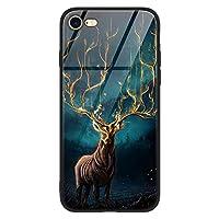 Eouine スマホケース iPhone7 iPhone8 専用 ケース ガラス背面 TPUバンパー 薄型 おしゃれ カッコいい 耐衝撃 軽量 (動物 アイフォン 7 / 8、シフゾウ)