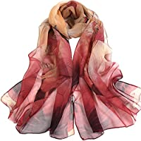 Bullidea Silk Scarf Women's Elegant Long Floral Printing Chiffon Scarf Beach Thin Shawl Wrap Red