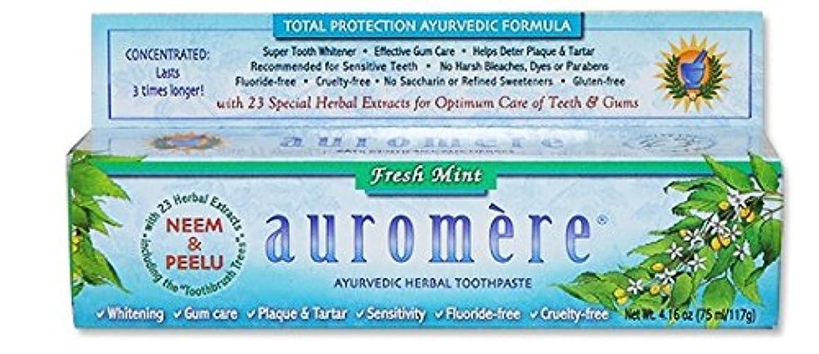 口不完全な記述するオーロメア アーユルヴェーダ ハーバル歯磨き粉 フレッシュミント 117g 海外直送品 [並行輸入品]
