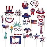 Amosfun 独立記念日 フォトブース小道具 7月4日 写真ポーズキット アメリカン 愛国的なパーティー用品 29個