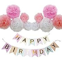 Happiest 誕生日 バースデー フラッグ ガーランド ポンポン ペーパーフラワー 飾り付け 装飾 セット (ピンク)