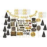 New Years Eve パーティーデコレーションパック - 56ピース 2019 カウントダウンパーティー用品バンドル パーティーハット パーティーグラス バナー フォトブース小道具 完全DIY装飾