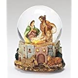 Fontanini Holy Family LED Italian Musical Glass Glitterdome 120mm Snow Globe New