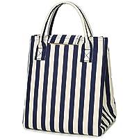 【JP PRO】保冷 ランチバッグ おしゃれ 弁当 バッグ 保冷 トート 通勤 学校 遠足 5カラー (藍白)