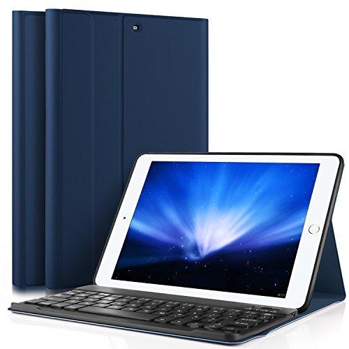 ELTD ipad pro 10.5 ケース, ipad pro 10.5 キーボードカバー PUレザーケースマグネット 角度調整スタンド機能 タッチペンホルダー ハンドストラップ付 熱処理カバー ipad 10.5インチキーボード付きケース  脱着式 手帳型  最軽量 全面保護型(紺碧)
