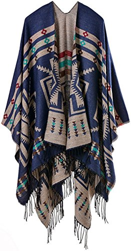 Plaid scarf cover wrap of Mochoose women's poncho and Cape tricot shawl tartan tassel warm fringe winter