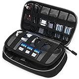 BAGSMART Compact Cable Organizer Bag Portable Travel Case- 3 Layer, Black&Grey