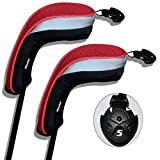 Andux ゴルフ ハイブリッド クラブヘッドカバー 交換可能な番号タグ付き 2 個セット (ブラック/レッド)