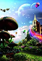 Giant Mushrooms and Mountain Castle 8' x 12' CPコンピュータプリント背景風景背景ZJZ zjz-584