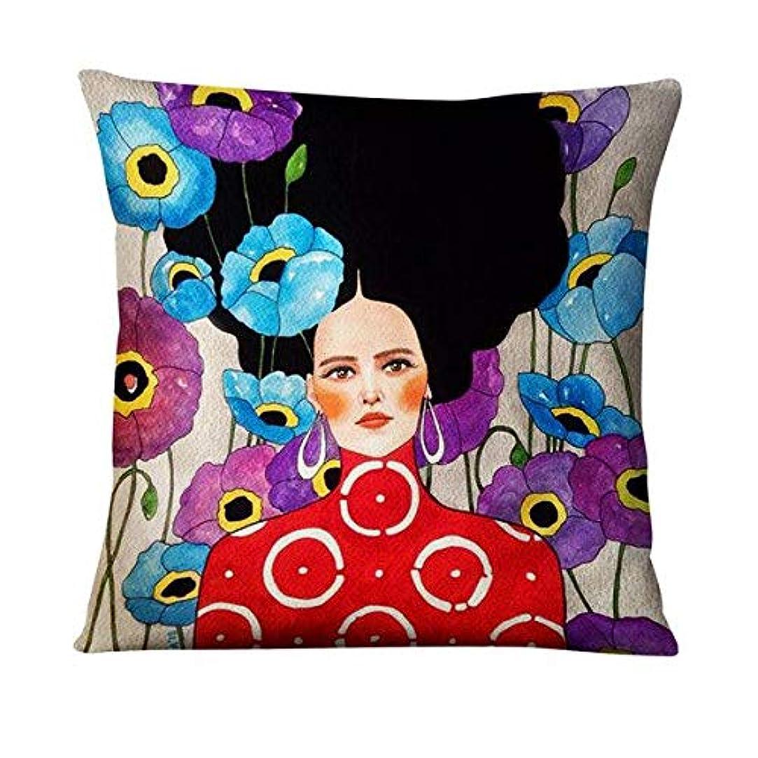 ありふれた医学策定するLIFE 英国アート薄型リネン枕エレガントな女性画クッション装飾枕家の装飾ソファスロー枕 45*45 Almofadas クッション 椅子