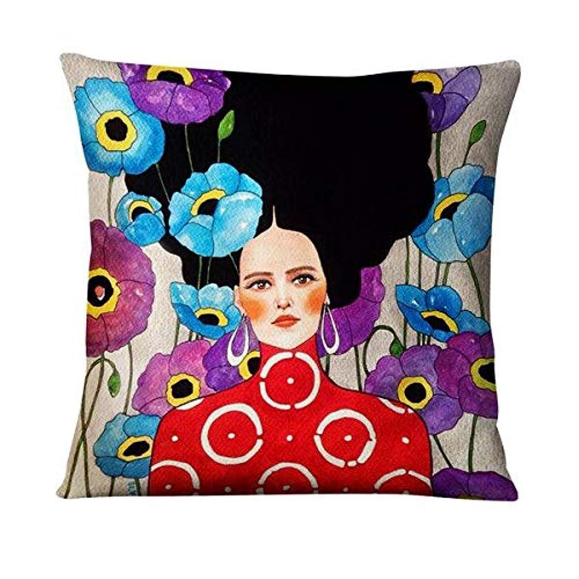 責自己影響するLIFE 英国アート薄型リネン枕エレガントな女性画クッション装飾枕家の装飾ソファスロー枕 45*45 Almofadas クッション 椅子