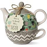 Pavilion Gift Company 74069 Bloom Sister Ceramic Tea for One, 15 oz, Multicolor