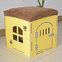ペットハウス 猫と犬の家の木製屋内と屋外のペットの巣 (色 : イエロー いえろ゜, サイズ さいず : M)