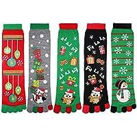 Zmart Women's Fun Colorful Ankle Toe Socks Striped Cute Cat Bear Christmas Five Fingers Cotton Socks 5 Pack