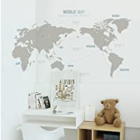 SANGSANGHOO(サンサンフー) ウォールステッカー ワールドマップ (ウォームグレー+スモークブル) GS0196300