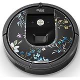 iRobot ルンバ Roomba 専用スキンシール ステッカー 960 980 対応 花 植物 黒 012052