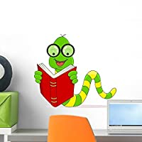 Wallmonkeys Happy Worm Reading Book Wall Decal Peel and Stick Graphic (18 in W x 16 in H) WM333850 [並行輸入品]
