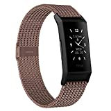 HAPAW Bands Compatible with Fitbit Charge 4 / Charge 3, Women Men Metal Stainless Steel Replacement Accessories Straps Bracelet for Charge 3 SE Fitness Tracker Small Large