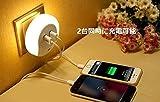 コンセントLEDライト, 【ELTD】LEDライトスタンド コンセント差込口付き led感応ライト USB充電機能付き 明暗センサーLEDライト 足元灯 枕元スタンド (コンセントLEDライト, ホワイト)