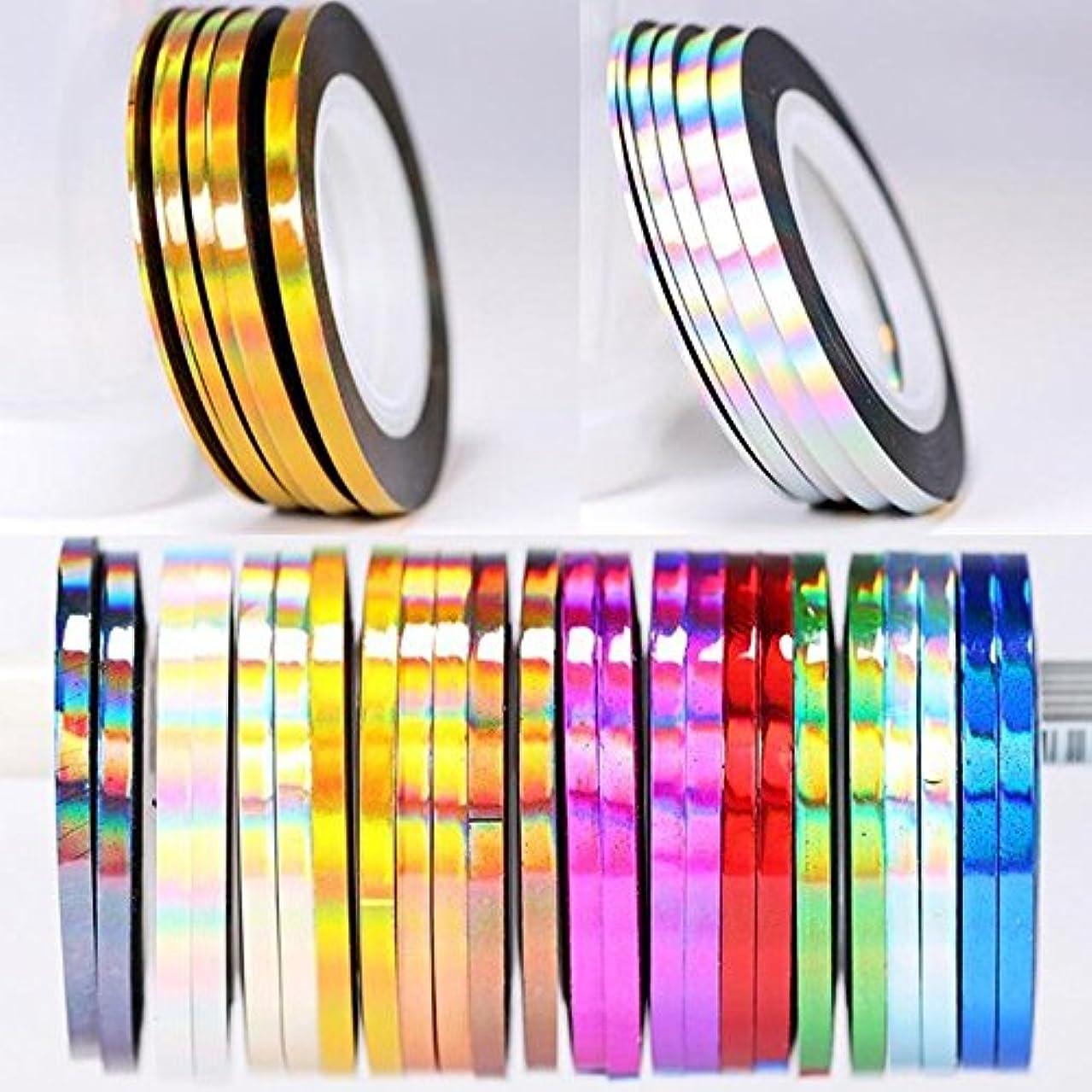 BlueZOO (ブルーズー) レーザーラインテープ 幅0.8mm/2mm/3mm ジェルネイルアート用品 輝き ゴールド シルバー フレンチ ライン テープ ネイルシール ストライピングテープ 爪 アクセサリー