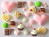 usausaのお店 福袋 レジンアート モチーフ 11種類 24個 ペアセット(約10mm~30mm) ハート・リボン・花形・スウィーツ他(ケーキ・クッキー・板チョコ・パンケーキ・カップケーキ) オーナメント/デコパーツ(B360)