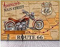 Bzbhart 3D壁画の壁紙画像オートバイヴィンテージライン落書き家の装飾 壁壁画壁紙用壁-200cmx140cm