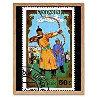 Mongolia Vintage Stamp Postage Archery Art Print Framed Poster Wall Decor 12X16 Inch モンゴルビンテージ切手送料ポスター壁デコ