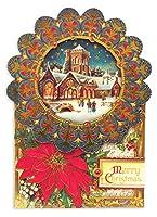 パンチスタジオ 【クリスマス】 立体 グリーティングカード 封筒セット Lサイズ (雪の積もった教会) 50346