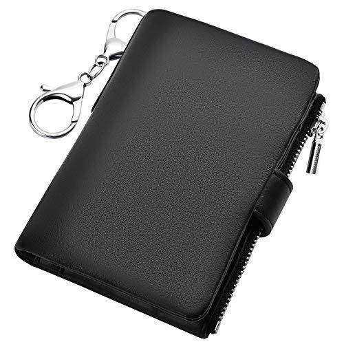 キーケース 財布 メンズ カードケース 本革 6連フック スマートキーケース 小銭入れ パスケース カラビナ付き コインケース ブラック