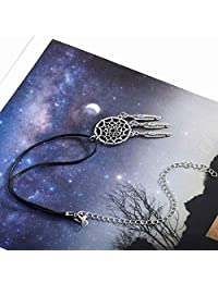 Yean Dream Catcher Choker Feather Pendant Necklace Silver Jewelry for Women and Girls