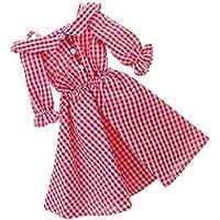 ノーブランド品  1/4スケール 人形  オフショルダー  チェック柄  スカート ドレス 服  BJDドルフィードール用 2色選べる - 赤