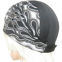 サイズ調整式 ヘルメット インナーキャップ 改CRAFT 【フィット&ホールド】闇炎柄&吸発汗黒