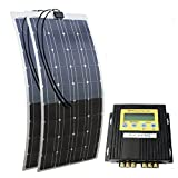 ECO-WORTHY 200W 12Vモノフレキシブルソーラーパネルキット:100W12Vソーラーパネル*2+20A MPPTコントローラ
