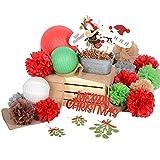 用紙Jazz 36個クリスマスホームパーティー装飾フォトブースProsポンポン付きランタンドアハンガーガーランドキット