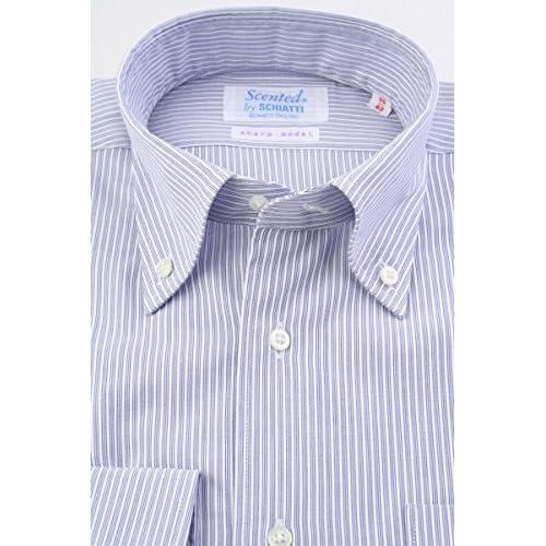 (スキャッティ) Scented ネイビー系 トリプルストライプ & 白 ドビーストライプ 綿100% ボタンダウン (細身) ドレスシャツ bd4152-3983