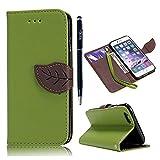YOKIRIN® iPhone6(4.7inch)対応ケース カワイイ純色カバー 手帳型 横開き PUレザー ストラップ付 カードケース付 スタンド機能 装着やすい 防塵 保護 グリーン