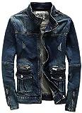 (ラクエスト) Laquest ライダース デザイン ヴィンテージ Gジャン デニム ジャケット (XL,ヴィンテージネイビー)