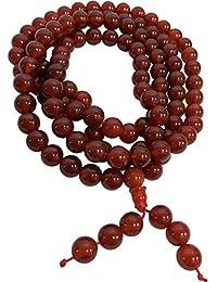 チベット108 CountカーネリアンMala Hindu Prayerヨガ瞑想ネックレス