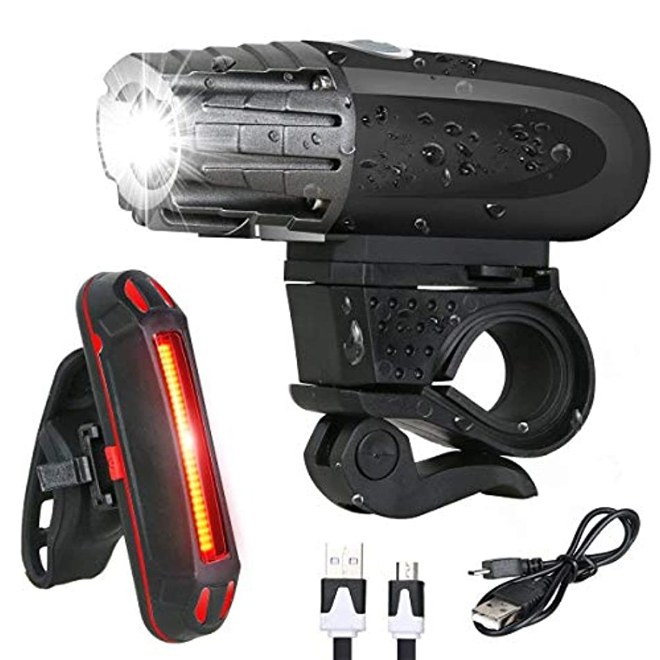再生取るリベラルUSB充電式自転車ライトセット強力なルーメン自転車ヘッドライト無料テールライト、LEDフロントランプとバックリアライトをインストールするのは簡単