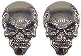 スカル エンブレム 3D 立体 ステッカー 骸骨 ドクロ 2個 セット 装飾 飾り カー アクセサリー ドレスアップ (ガンメタル)