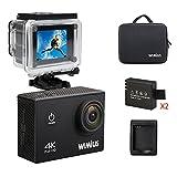 WIMIUS Wifi 4K(30FPS) アクションカム ウェアラブルカメラ スポーツカメラ 2.0インチ液晶 多機能カメラ(ブラック)