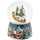 Roman Holiday Village House Musical Snow Globe Water Dome with Rotating Santa Claus in Sleigh Plays Up on the Roof, 17cm