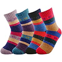 JOYCA & CO. Womens Size 5-9 Christmas Holiday Casual Thick Knitting Wool Socks Winter Crew Socks (4 Pairs)