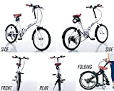GRAPHIS(グラフィス) 折りたたみ自転車 20インチ シマノ製6段ギア ワイヤーロック LEDライト ホワイト GR-FD