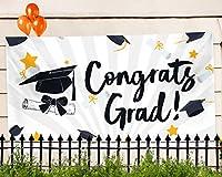 """卒業式パーティーバナー–Extra Large 71"""" x 40""""–2018Congrats Gradギフトデコレーション、Supplies &オーナメント–キャップデザインfor College、子供高学校、Doctorate、&授乳graduates"""