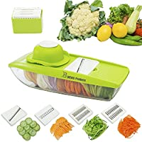 NEWEST 2016 MANDOLINE SLICER Cuts Fruits & Vegetables, Straight & Julienne-Vegetable Slicer - Food Slicer - Vegetable Cutter with 5 Interchangeable Blades by BWEISS PRODUCTS