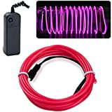 lychee EL Wire Neon Glowing Strobing Electroluminescent Light El Wire w/Battery Pack for Parties, Halloween Decoration (Pink, 9ft)